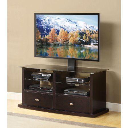 whalen tv stand with swinging mount for tvs up to 60 inch black