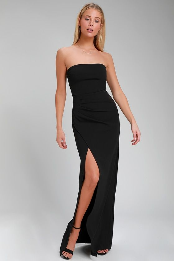 58041b32c7f Foxy Black Strapless Maxi Dress CollectiveStyles.com ♥ Fashion ...