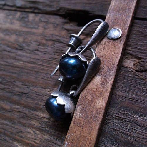 PEARL HAZELNUT, freshwater pearl, natural pearl, dark blue pearl, sterling silver, pearl earrings, dangle earrings by pieceofmysoulArt on Etsy