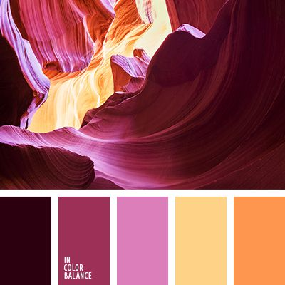 Burgundy, purple, fuchsia and orange fire - contrast combination, which brings an incredible energy boost. Fascinating magnetism saturated colors is a source for creative ideas, inspiration for new achievements, regardless of application.  This combination of bright and expressive councils suitable for office decoration or clothing of a successful business woman.