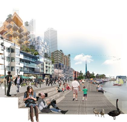 Collage perspective. Rendering of Perth waterfront redevelopment plans courtesy of Gehl Architects.