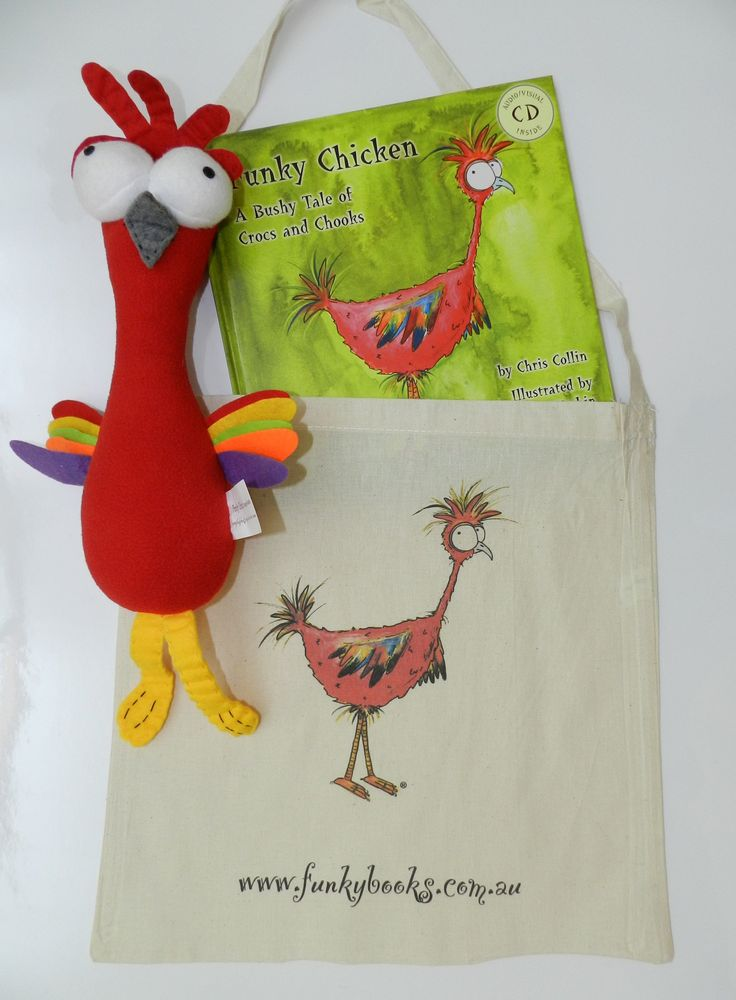 PERSONALISED MEGAFUNKY PACK : Book - Funky Chicken Book, Calico Bag and Plush Toy (hardcover book version) (Baby & Child) | The Little Distinctions