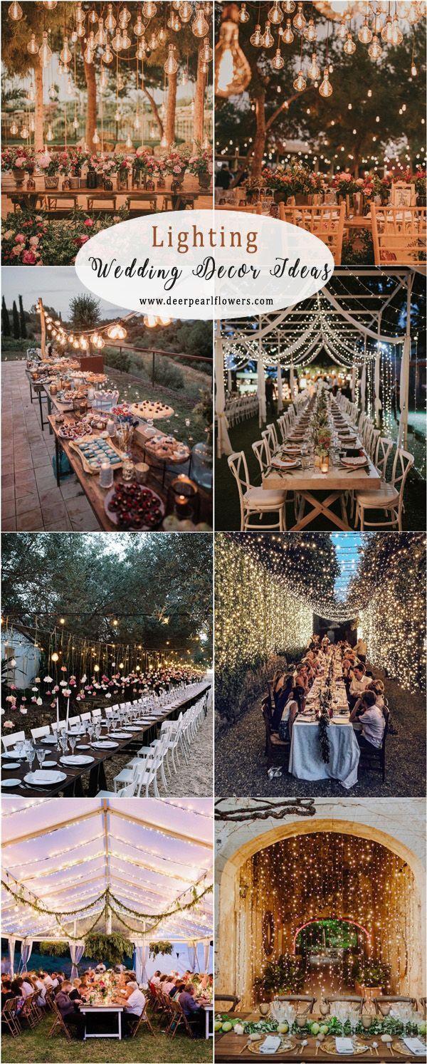 Romantische rustikale Land Hochzeitsideen – Beleuchtung Dekor Ideen #Hochzeiten #Hochzeit
