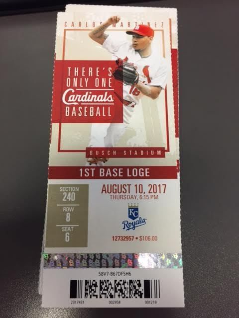 St. Louis Cardinals Kansas City Royals MINT Season Ticket 8/10/17 2017 MLB Stub | eBay