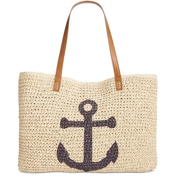 Style & Co Anchor Straw Beach Bag, ($20) ❤ liked on Polyvore featuring bags, handbags, tote bags, anchor, straw tote beach bag, nautical beach tote, handbags totes, white purse and straw handbags