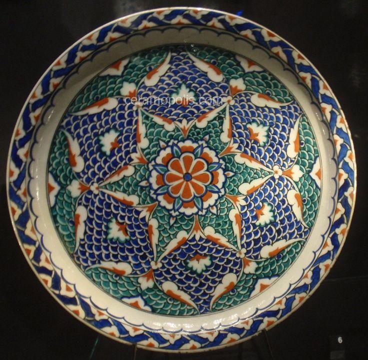 Iznik Plate – Motif with Blue, Red & Green Colors  Iznik 16th – David Museum Denmark