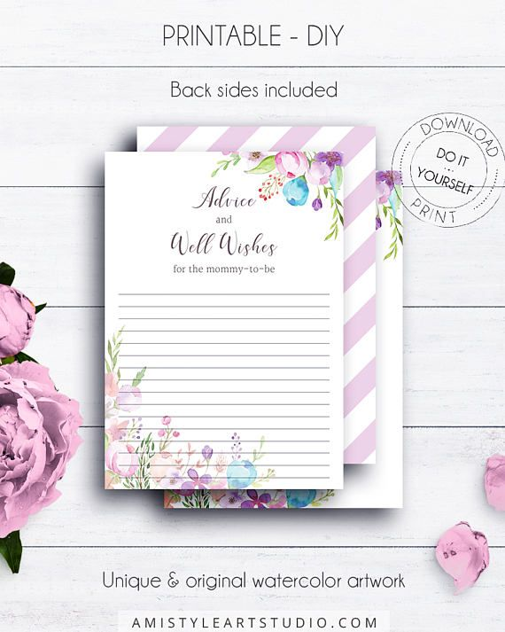 Floral Baby Shower Advice Cards, with adorable watercolor floral embellishment in vintage style.This adorable baby shower advice card listing is for an instant download PRINTABLE PDF so you can download it right away, print it at home or at your local copy shop by Amistyle Art Studio on Etsy