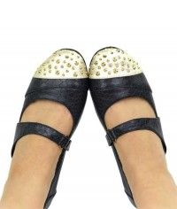Gold Sprinkles - Womens charcoal black and gold snake and python studded mary jane flats shoes