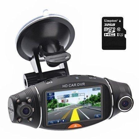 "Car Dvr 1080P 2.7"" LCD Screen Rotating Dual Len Vehicle DVR Road Dash Cam Video Camera Recorder Traffic Dashboard Recorder with 32GB Kingston Class10 TF Card"