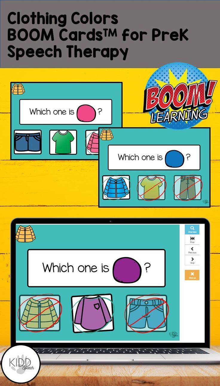 Clothing colors boom cards for prek speech therapy and