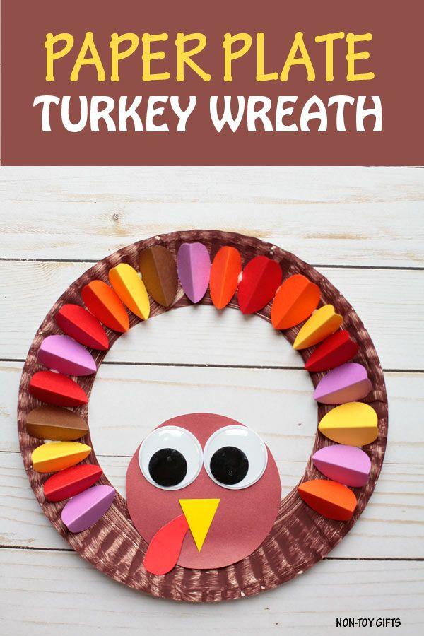 Guirnalda de pavo con plato de papel - Obra de acción de gracias para hacer con niños en edad preescolar, jardín de infantes y niños mayores    en regalos para no juguetes #turkeycraft #Thanksgivingcraft