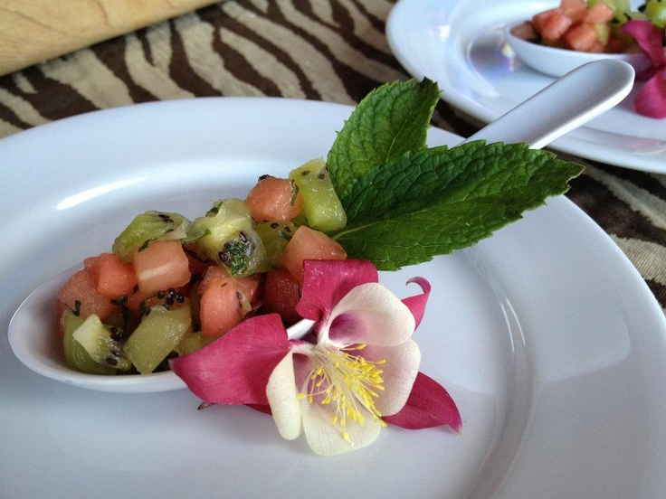 Watermelon & Kiwi Mini Salad with Mint & Columbine Garnish (grown on Grizzly Grill Rooftop Garden).