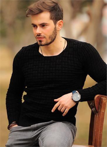 Erkek Kazak Zincir Örgü Siyah
