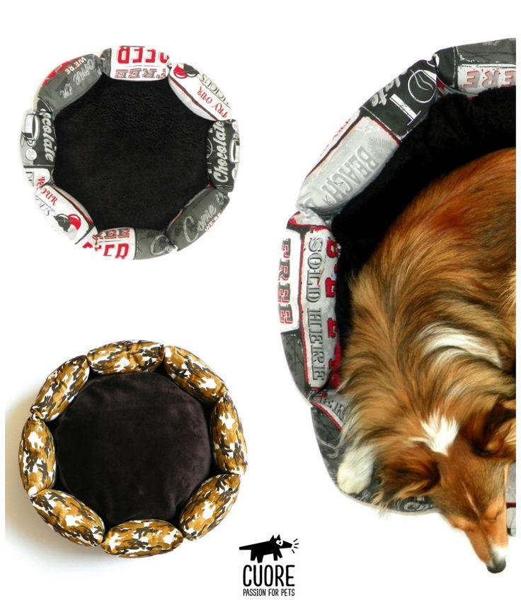 Cama estilo Donut. Disponible en estampado Poster y Army. Entrega inmediata! #cuore #passionforpets #dogbeds #sheltie #beautiful