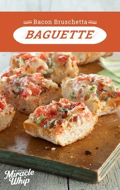 Check out this tasty twist on this cold weather favorite. Cheesy garlic bread with tangy MIRACLE WHIP Dressing and a hint of bacon makes this grill-simple bruschetta baguette a winner. Visit KraftRecipes.com to see this and more.