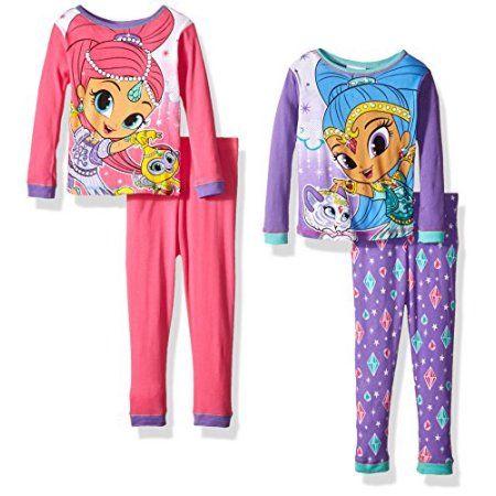 Nickelodeon Shimmer and Shine 4-Piece Big Girls Pajama Set, Purple
