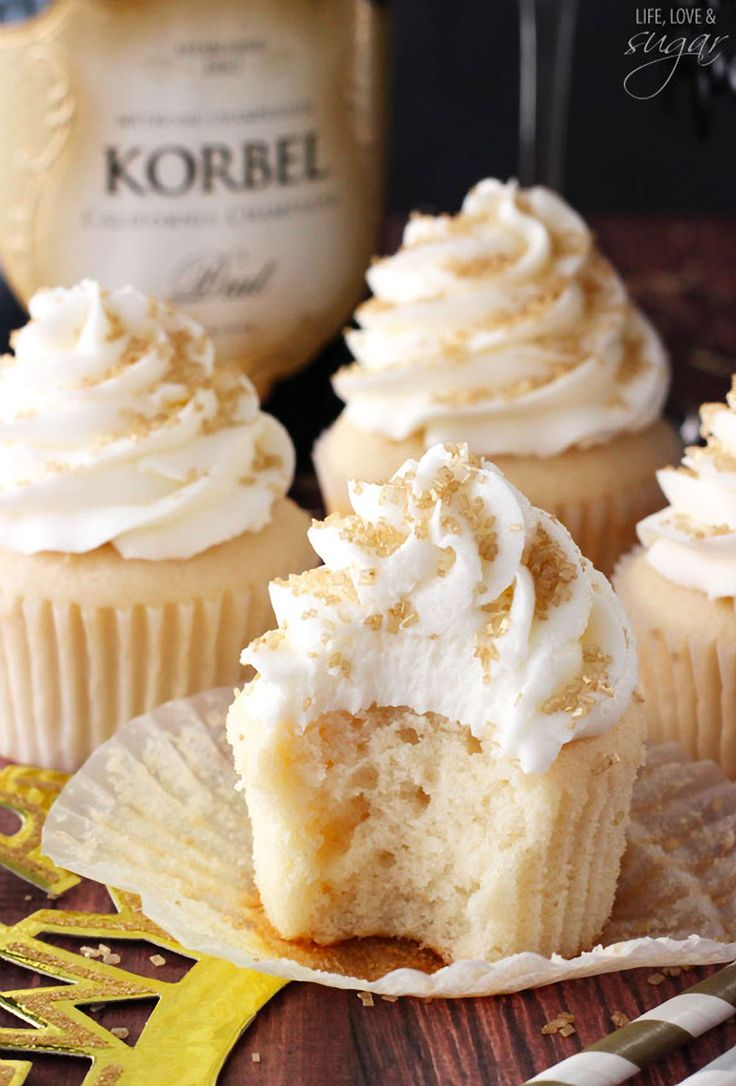 Champagne Cupcakes – super moist and full of champagne flavor .. including the icing!