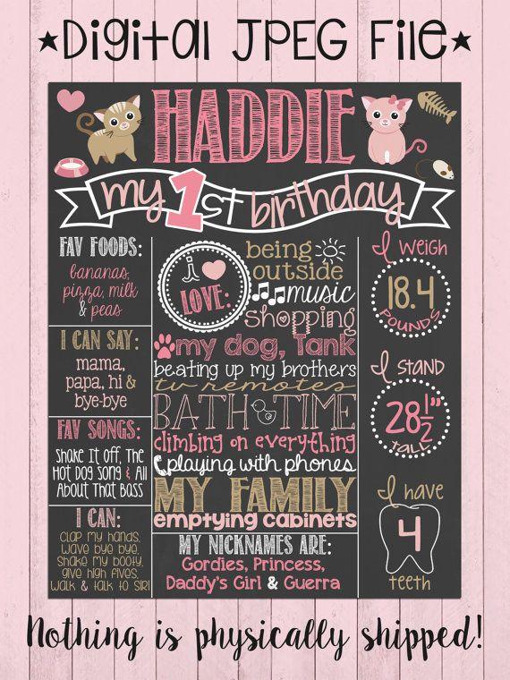 Gatto di compleanno lavagna Poster  Ragazza 1  compleanno