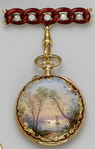 Bonhams : Swiss. A fine 19th century 18ct gold enamel fob watch with enamel and diamond set bar brooch
