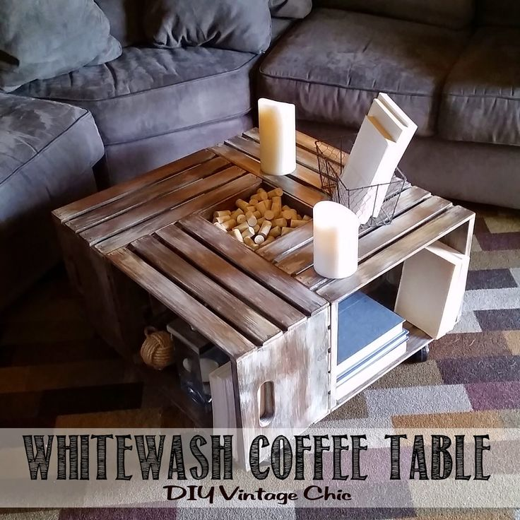DIY Vintage Chic: Vintage Wine Crate Coffee Table (You can buy these crates at any craft store.)