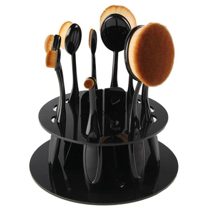 New Acrylic Oval Makeup Brush Display Holder Stand Drying Brush Cosmetic Shelf Organizer