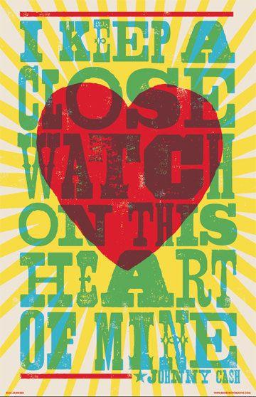 I Walk the Line Lyric Poster by RedRobotCreative on Etsy, $15.00 Letterpress Hatch Show Style