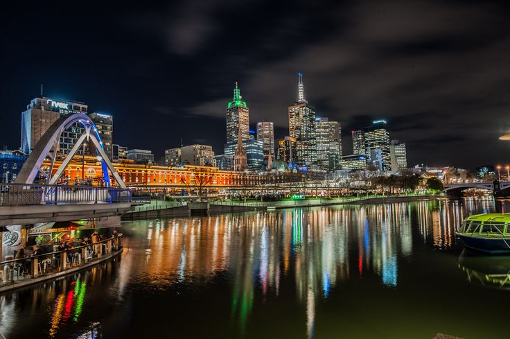 Melbourne City Centre at night as seen from Southbank across the Yarra River, August 2017.