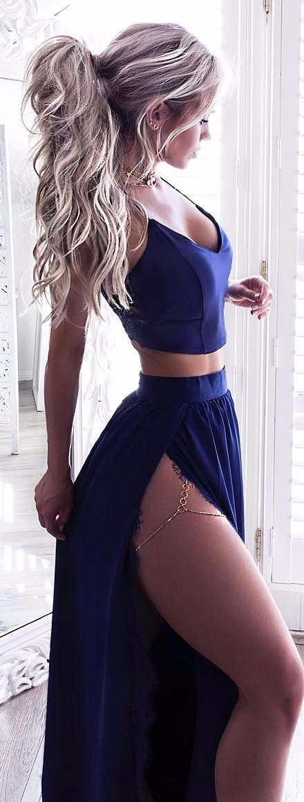 all blue everything girly two piece