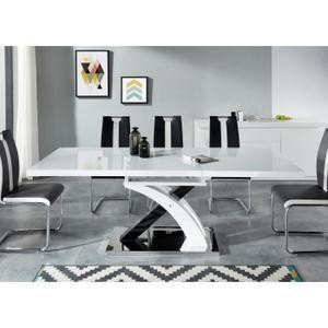 80b36e388b5a7f SHIVA Table à manger extensible de 8 à 10 personnes style contemporain  laqué blanc brillant avec
