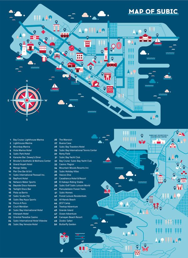 Beautiful colours and illustrations. Illustrated map of Subic for Abodo  Magazine's Ad Summit Pilipinas 2014 Festival Guide  View the project on Behance - behance.net/Ad-Summit-2014-Subic-Map