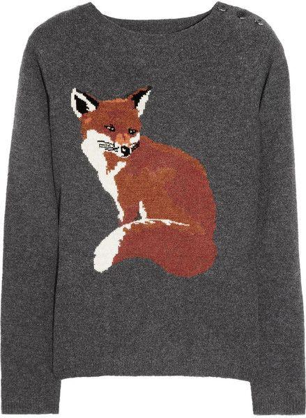 Portland Fox Intarsia Merino Wool Sweater - Lyst
