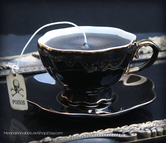 Finally - some cool black candles!! Sit back and enjoy the fragrance of Vanilla with this Vintage inspired Victorian Gothic Tea Cup Candle.... complete with a Poison Skull Tea Tag! Black Wax in a Black with Gold Accent Tea Cup & Saucer. NOTE - the tea cup is solid black with a gold accent at the rim and base, and gold touches at the handle.... it is simply a reflection of the saucer or gold tray in the photos!  This unique candle also makes a great gift!!  Are you the hosting type? These ...