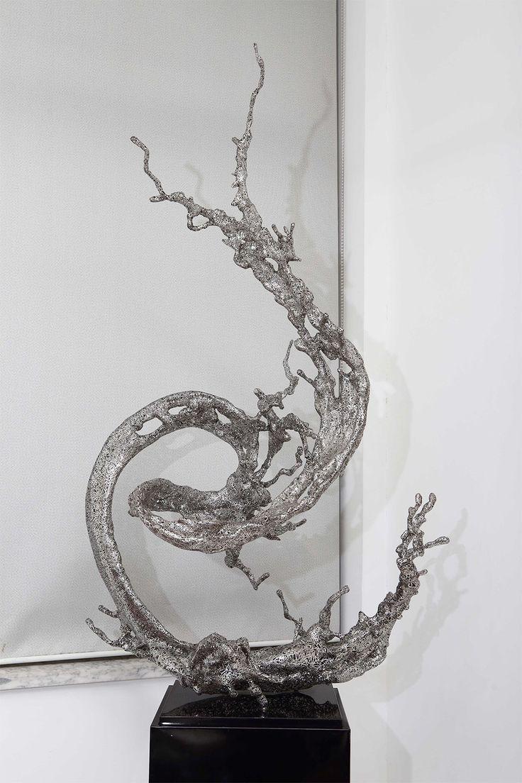 Art fairs mechanical movement metal paris russia sculptures wood - Zheng Lu S Poetic Steel Splashes Of Water Frozen In Mid Air
