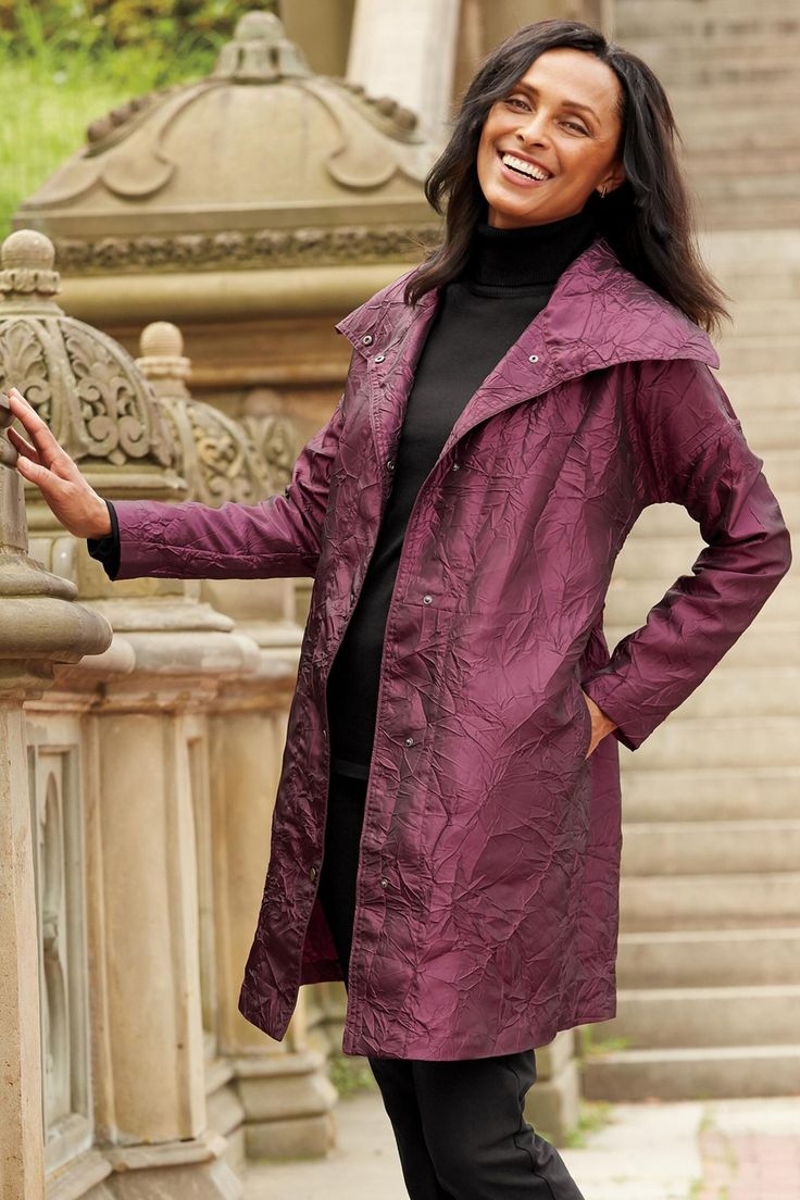 Crinkle Shimmer Water-Resistant Raincoat: #Travelsmith $69.00