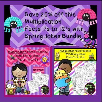 Bundle- Save 20% on Multiplication Fact Practice (1's to 12's) with Spring Jokes! Your students will LOVE working on their multiplication facts and finding the answers to the Spring jokes! This set contains 12 pages total ( 1 page per fact)  and the answer keys!*********************************************************************These activities would work for third graders, high achieving second graders or fourth graders who could use some review!Here are some possible uses for these in…