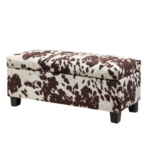 White And Tan Cowhide Storage Bench In 2020 Upholstered Storage Upholstered Storage Bench Furniture
