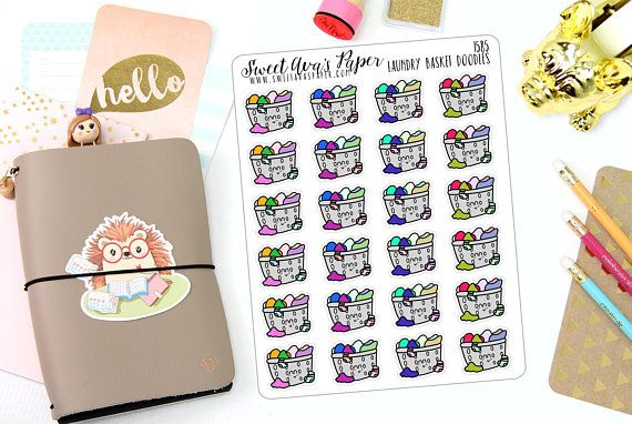 Laundry Planner Stickers Laundry Basket Stickers Doodle Planner