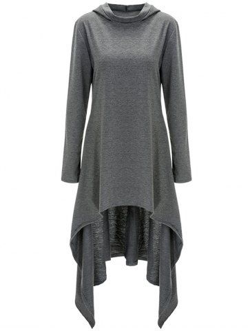High Low Hooded Dress with Long Sleeves in 2021 | Hooded dress, Clothes for women, Long sleeve casual dress