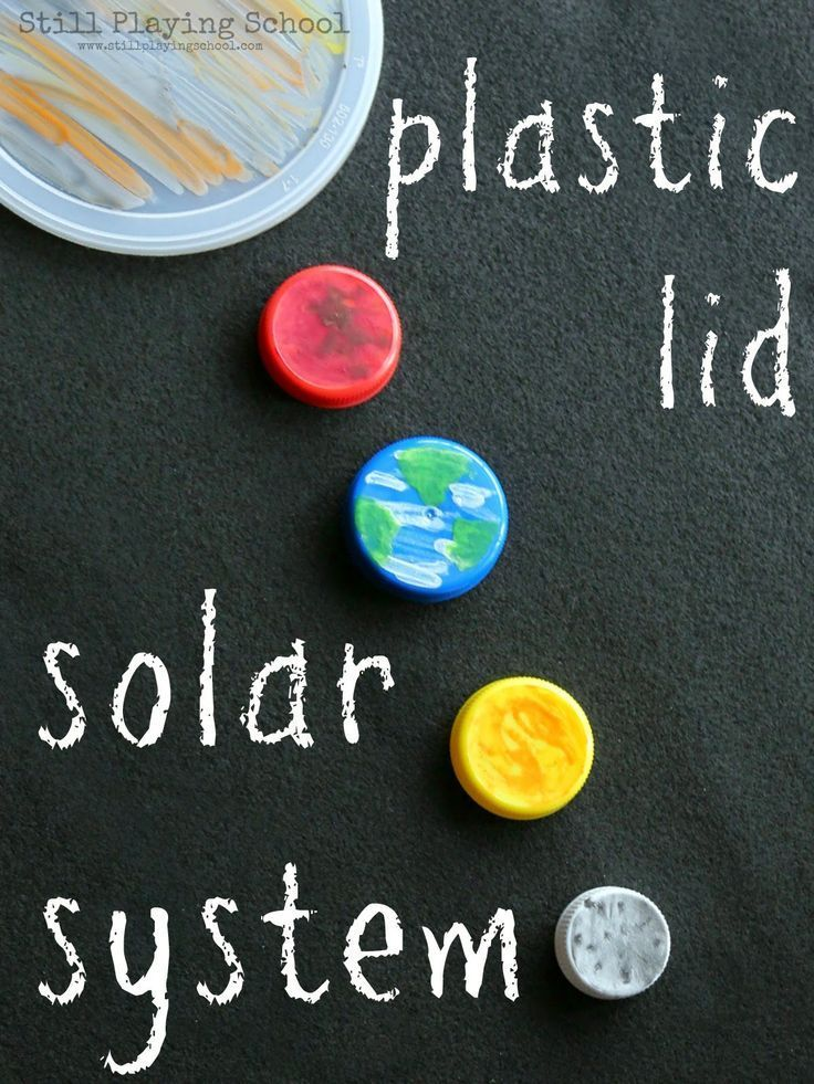 Craft a solar system of recycled plastic lid planets for hands on science play for kids!