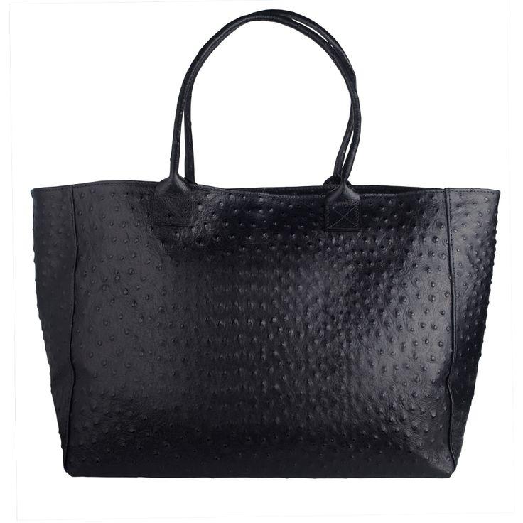 Genuine Baggage - MarlaFiji Maxine Black Italian Leather Shopper Bag / Ostrich Embossed, $224.55 (http://www.genuinebaggage.com.au/marlafiji-maxine-black-italian-leather-shopper-bag-ostrich-embossed/)