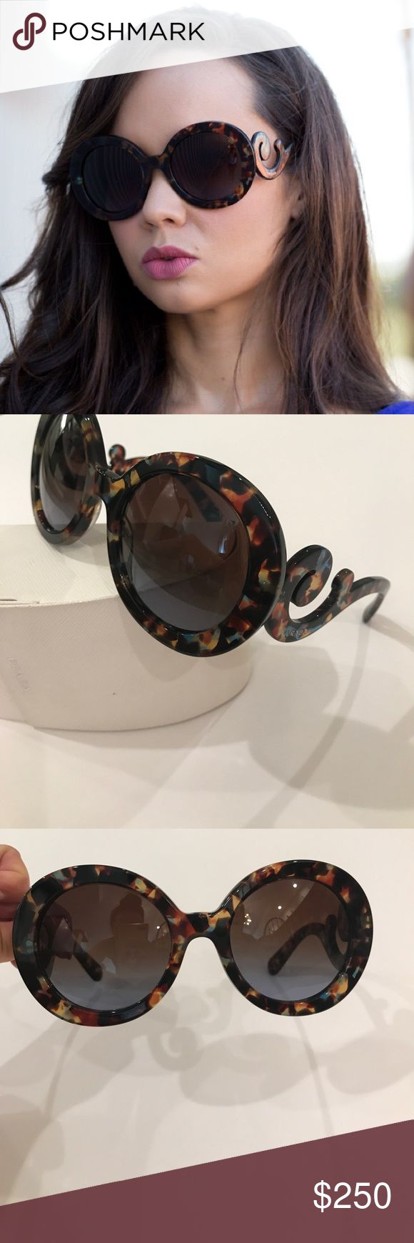 Prada Baroque tortoiseshell sunglasses authentic Authentic Prada baroque sunglasses in a beautiful tortoiseshell! Only worn twice for photo shoots. Includes case. Sunglasses in perfect condition. Case looks slightly worn, but still in good condition. Prada Accessories Sunglasses