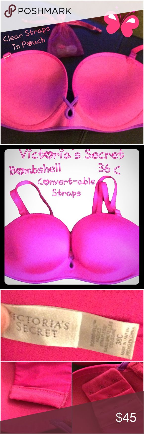 NWOT VS Bombshell/Padded Strappless Pink/Purple👙 NWOT Victorias Secret padded Bombshell strapless bra with convert-able straps in Pink/Purple. There are 2 sets of straps the pink ones which are attached to the bra in pics, and also comes with clear straps in the pink mesh pouch. Can wear this as strapless, one shoulder, racerback, halter style or with both straps like a regular bra. Size is 36 C. Victoria's Secret Intimates & Sleepwear Bras