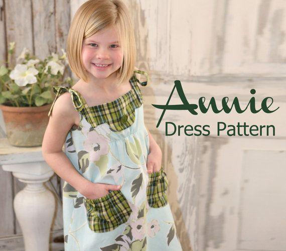 NEW Annie Vintage Style Girls Dress PDF Pattern Tutorial, Easy Sew sizes 12m thru 8 included. $7,50, via Etsy.