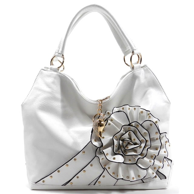 42.00 White Fashion Handbag . Gold Tone Hardware . Rhinestone . Feaux