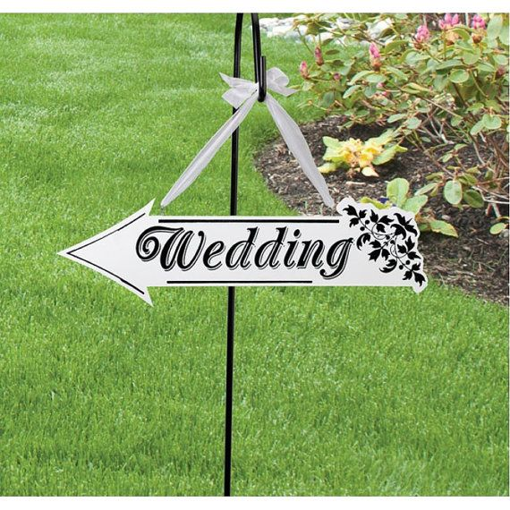 Wedding Arrow Direction Sign White Wooden Wedding Yard Sign Both Sides Decorations