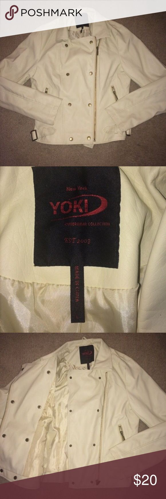 Ladies leather jacket Cream colored jacket, ladies size large, nwot Jackets & Coats