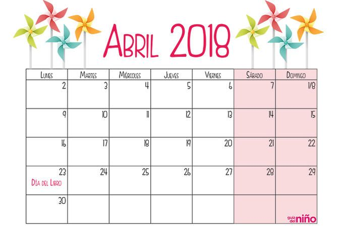 Abril 2018 Calendario 2018 Para Imprimir Imprimir Sobres Calendario