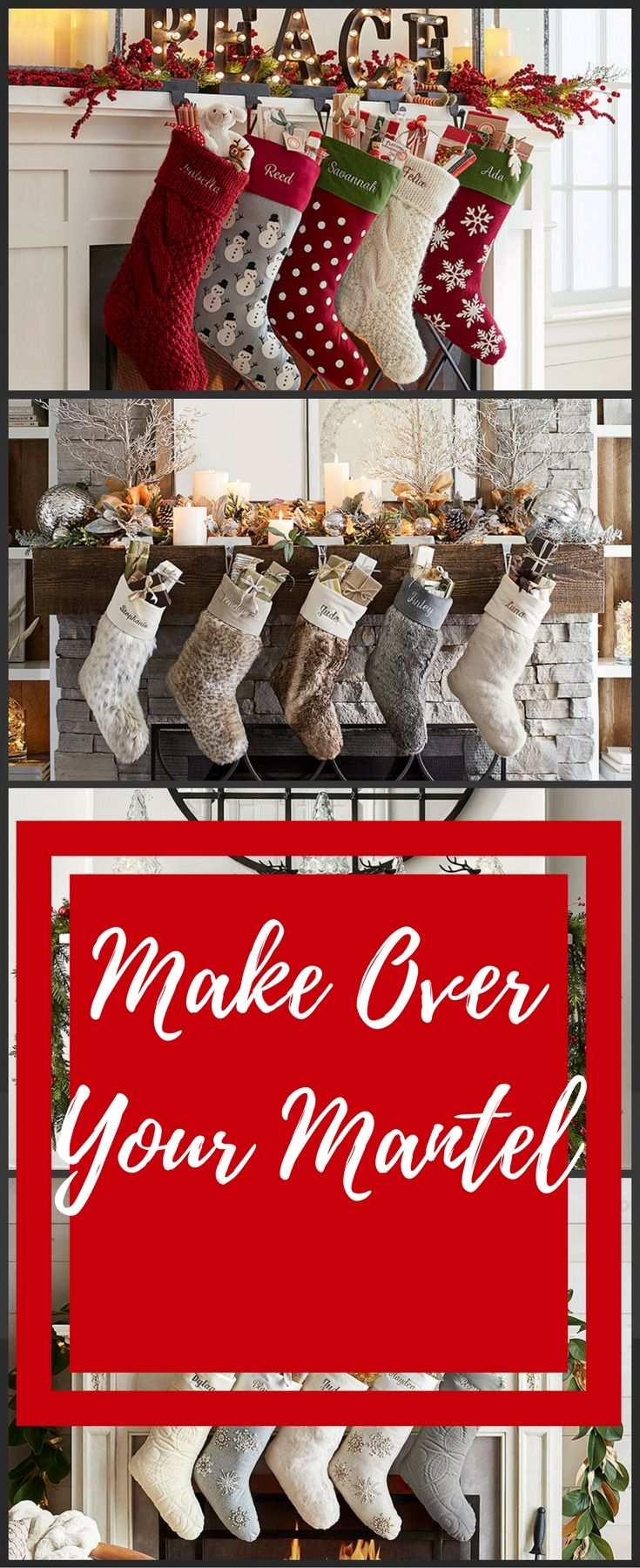 I love decorating my mantel at Christmas! Here are some great ideas! #christmasstockings #ad #ChristmasDecor