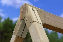 Free-Standing A-Frame Brackets - Swingset Hardware   Build tall swing set for 2 swings and a set of rings