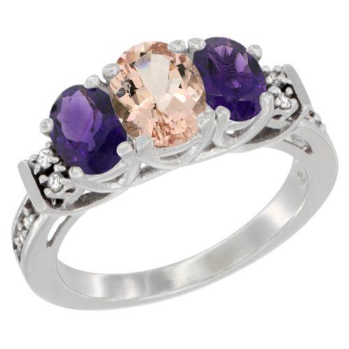 Silvercity La - 14K Yellow Gold Diamond Jewelry - 3 Stone Rings - Morganite - Afford Price: Contact Us